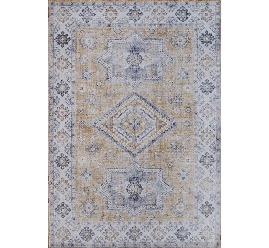 Vintage tapijt, bedrukt, goudgeel