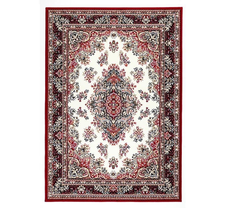 Klassiek tapijt medaillon bordeaux en crème