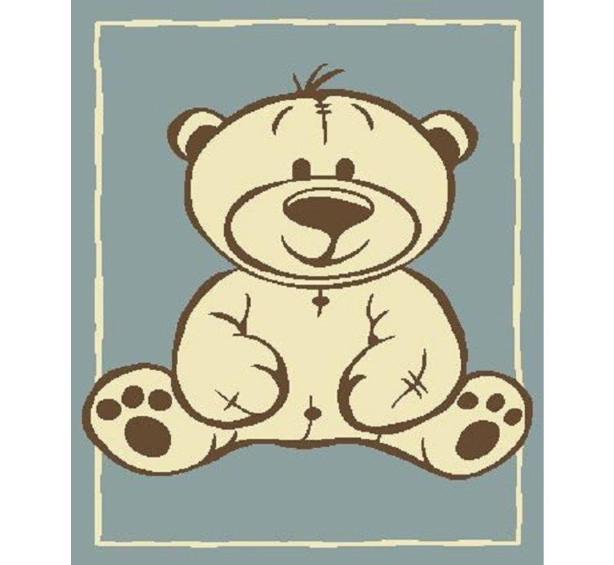 Kindertapijt met beer blauw