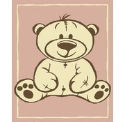 Kindertapijt met beer roze
