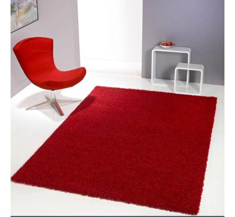 Tapis poil long rouge 30 mm