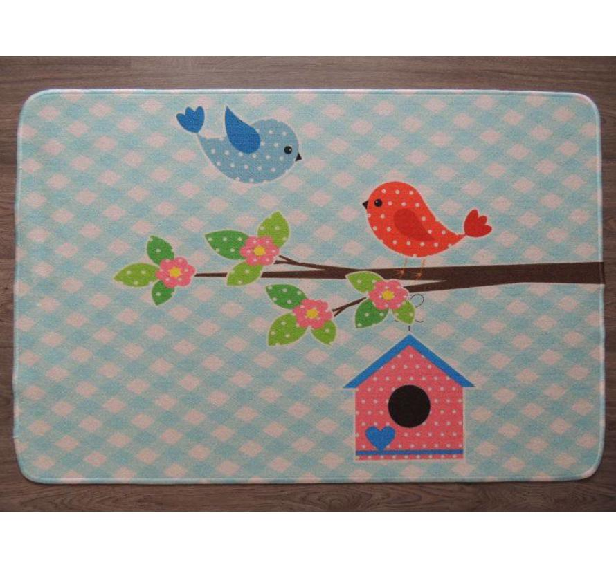 Kindertapijt blauw met vogels