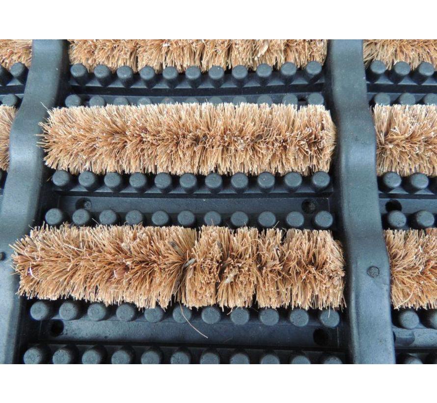 Paillasson caoutchouc avec brosses grattantes en coco