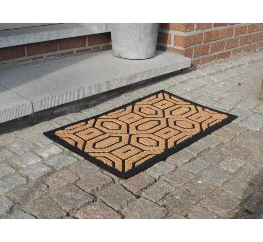 Tapis coco/caoutchouc dessin hexagonal