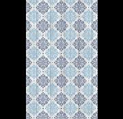 Antislipmat op maat, sierlijk dessin blauw