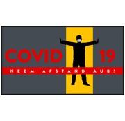 Professionele COVID droogloopmat voor binnen, neem afstand aub
