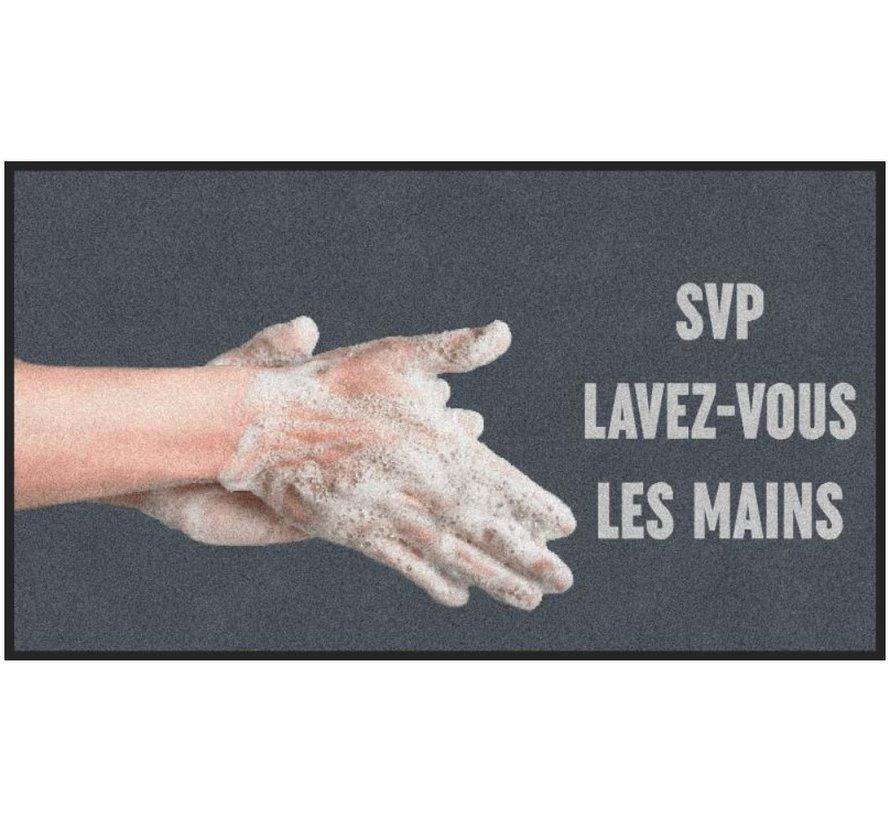 Tapis COVID anti-poussière professionnel, pour l'intérieur, lavez-vous les mains