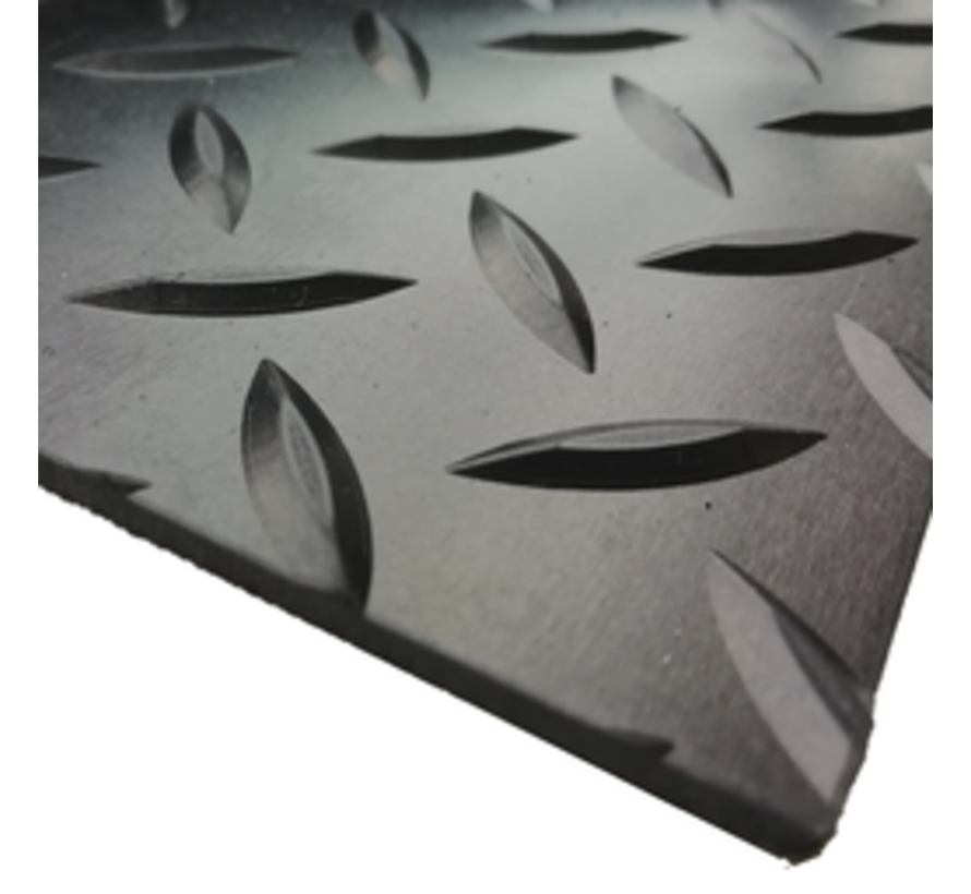 Rubberen loper op maat met diamantmotief, 3mm
