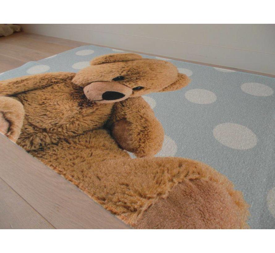 Kindertapijt blauw met afbeelding beer