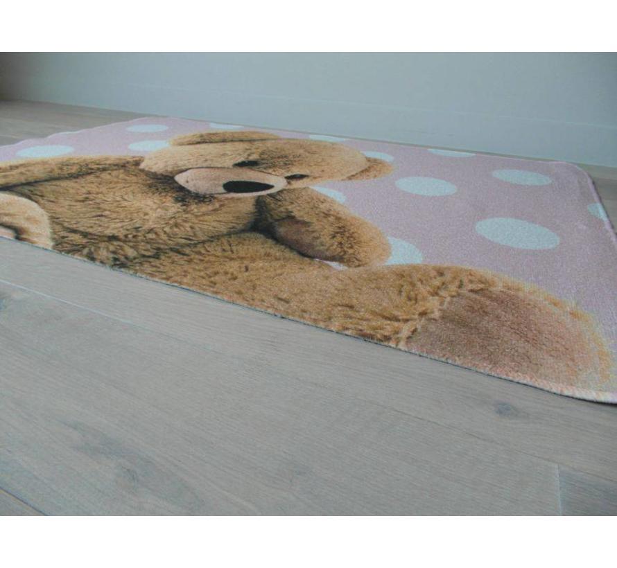 Kindertapijt roze met afbeelding beer