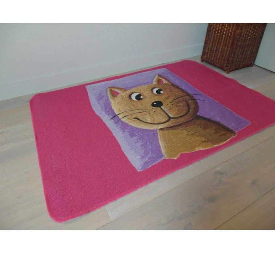 Tapis bébé rose avec chat