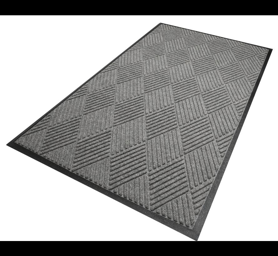 Tapis  professionnel grattant et absorbant en motif de carreaux, pour l'intérieur,  gris