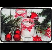 Kerstmat bedrukt met kerstkaars
