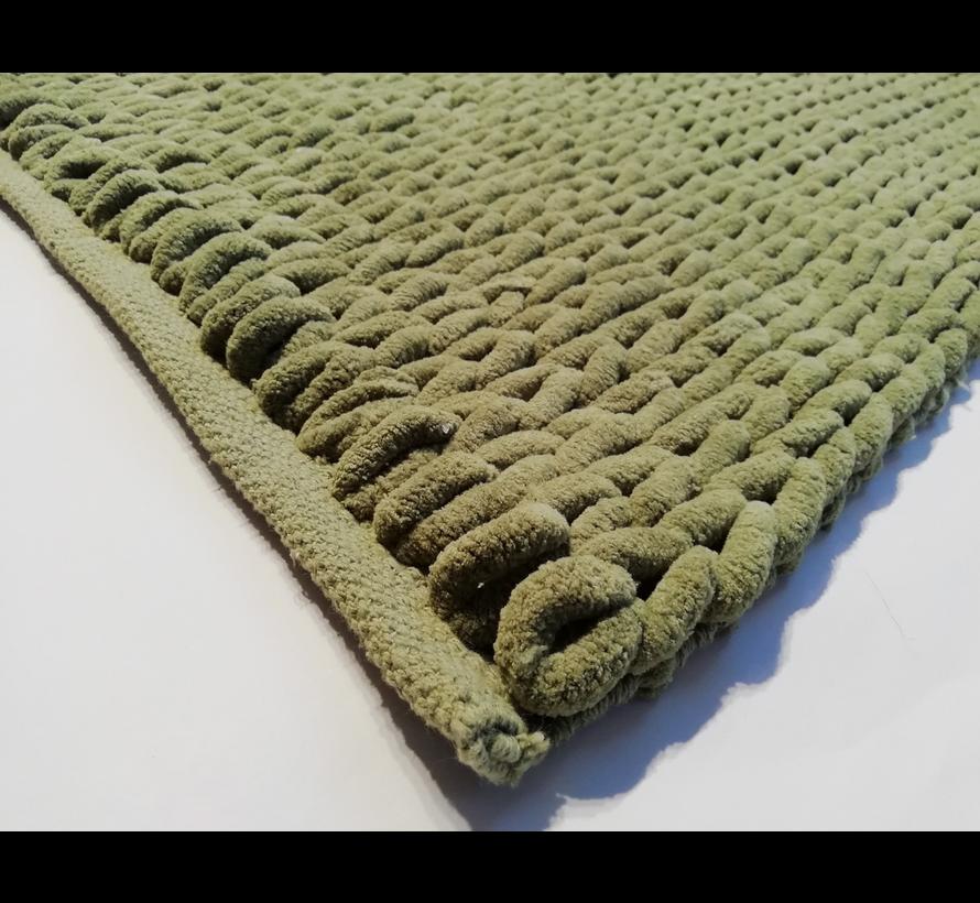 Tapis de bain chenille tressé vert