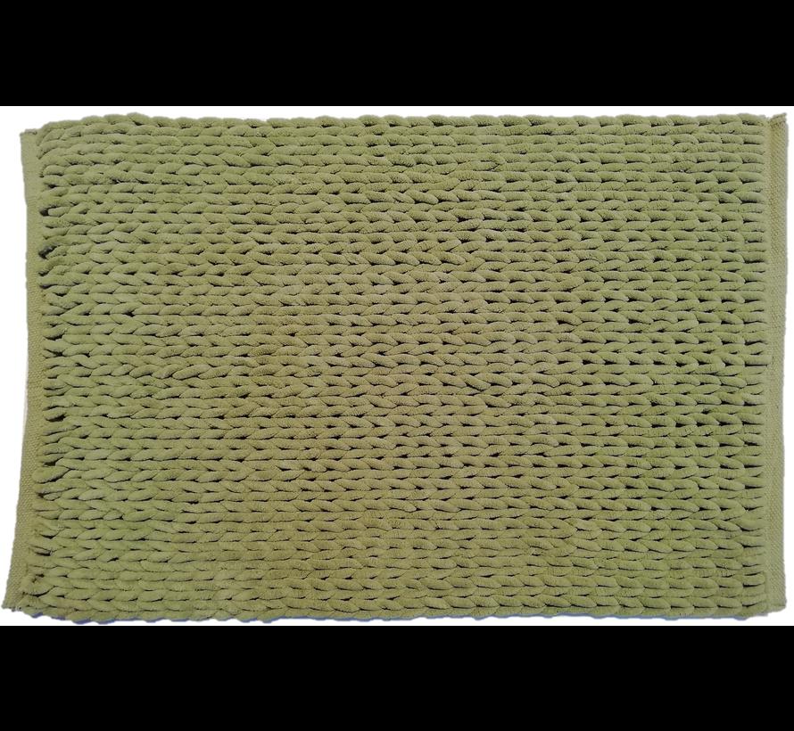 Badmat gevlochten chenille groen