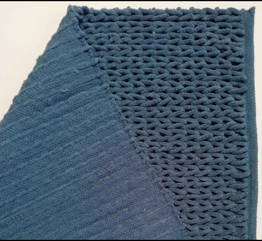 Tapis de bain chenille tressé bleu