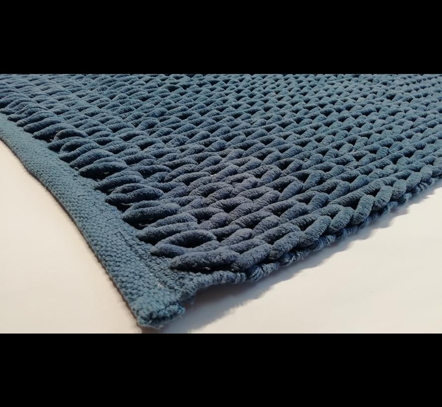 Badmat gevlochten chenille blauw