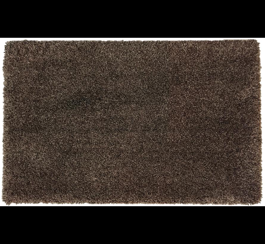 Tapis de bain poil long brun