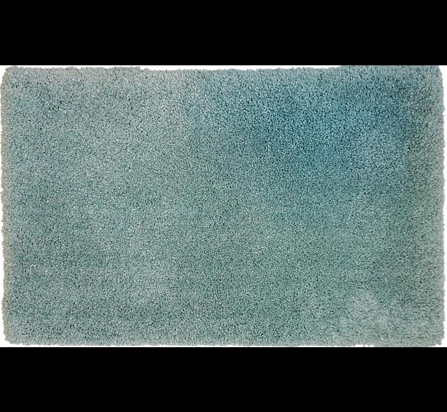Tapis de bain poil long bleu