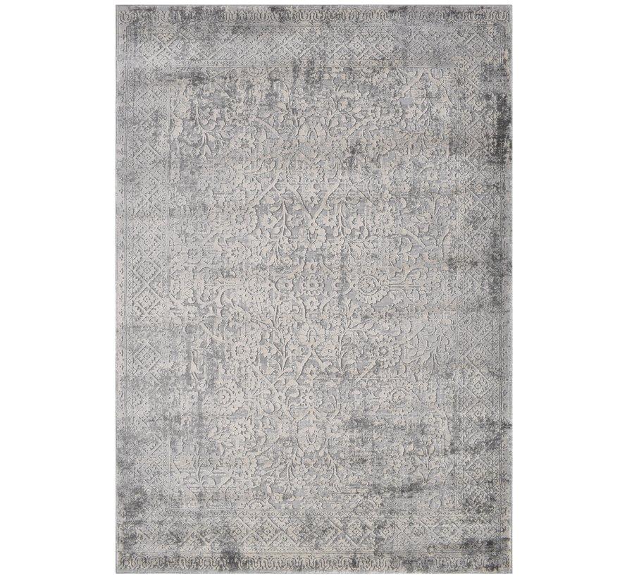 Modern tapijt in lichtgrijs en crème
