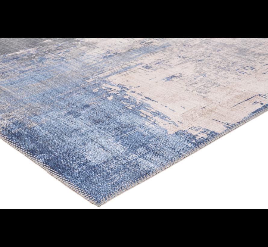 Vintage tapijt, bedrukt, blauw