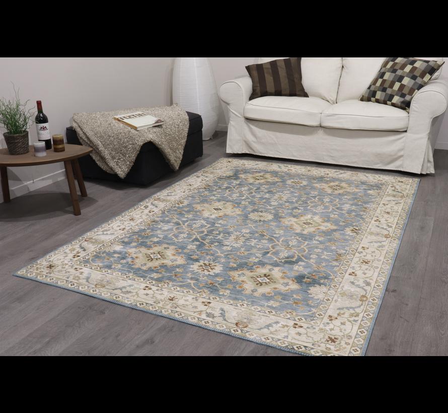 Vintage tapijt, klassiek, bedrukt, blauw