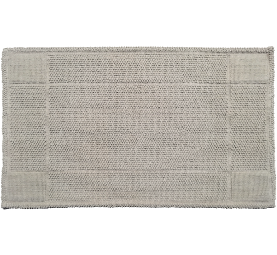 Tapis de bain coton antidérapant, gris clair