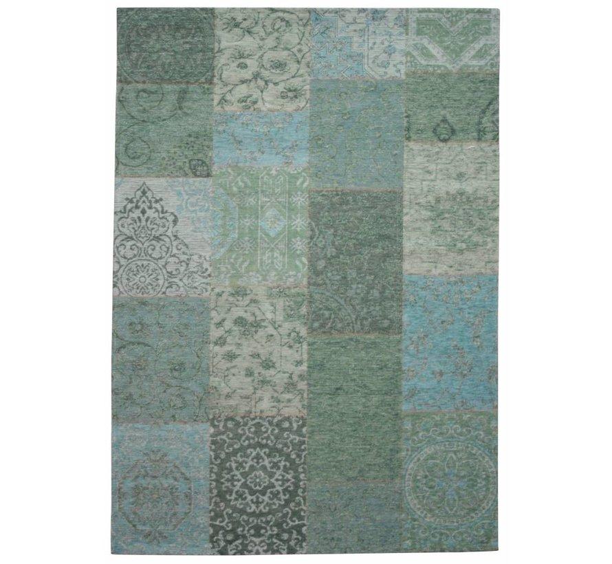 Tapis dessin patchwork bleu et vert