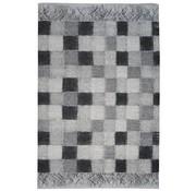 Vintage tapijt grijs geblokt
