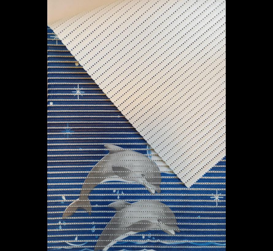 Tapis antidérapant sur mesure, dauphins bleu