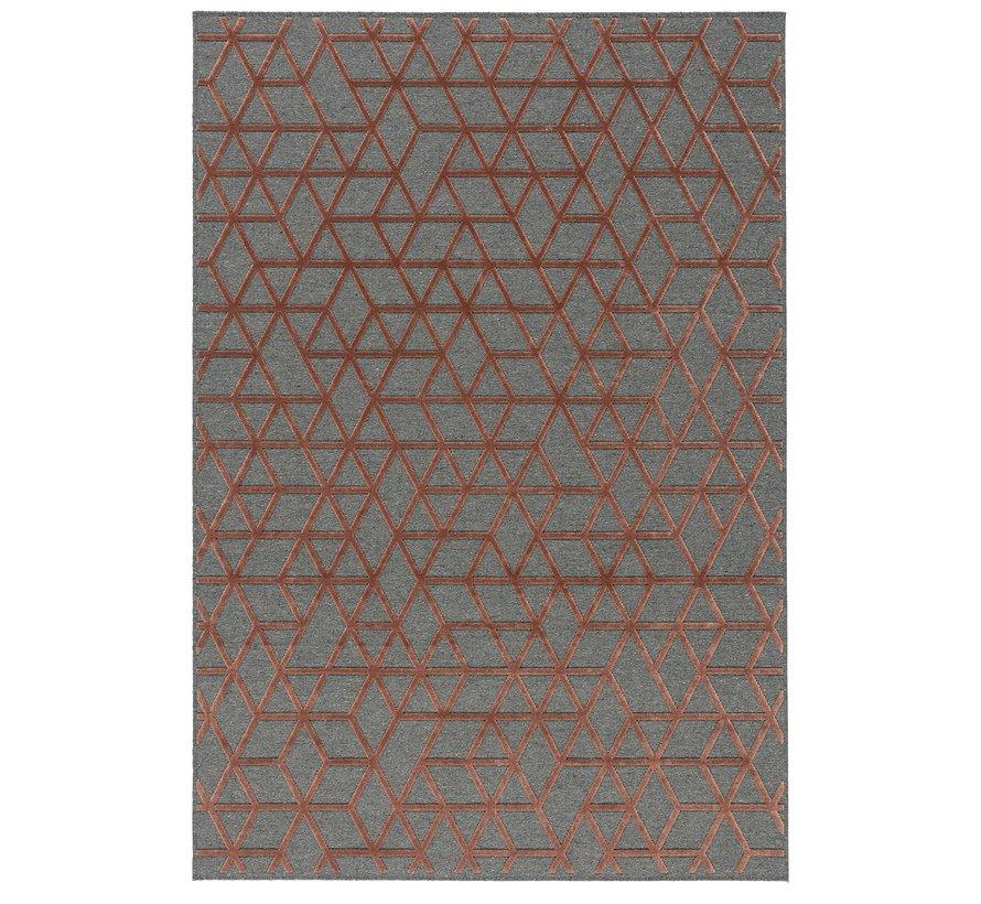 Modern tapijt grijs en rood