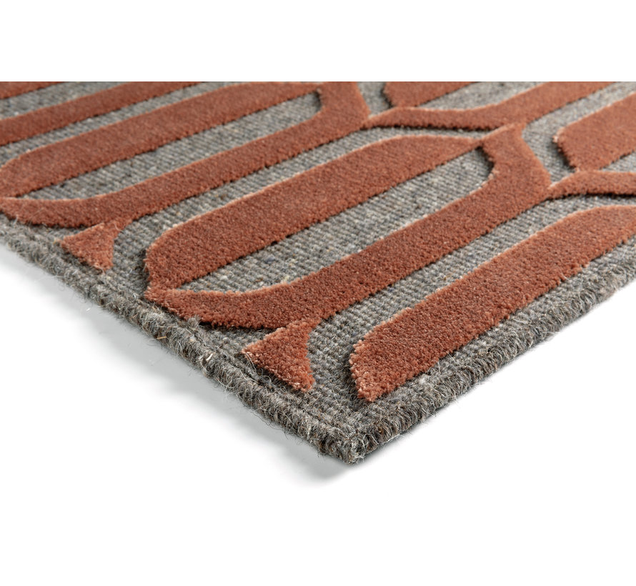 Modern tapijt rood en grijs