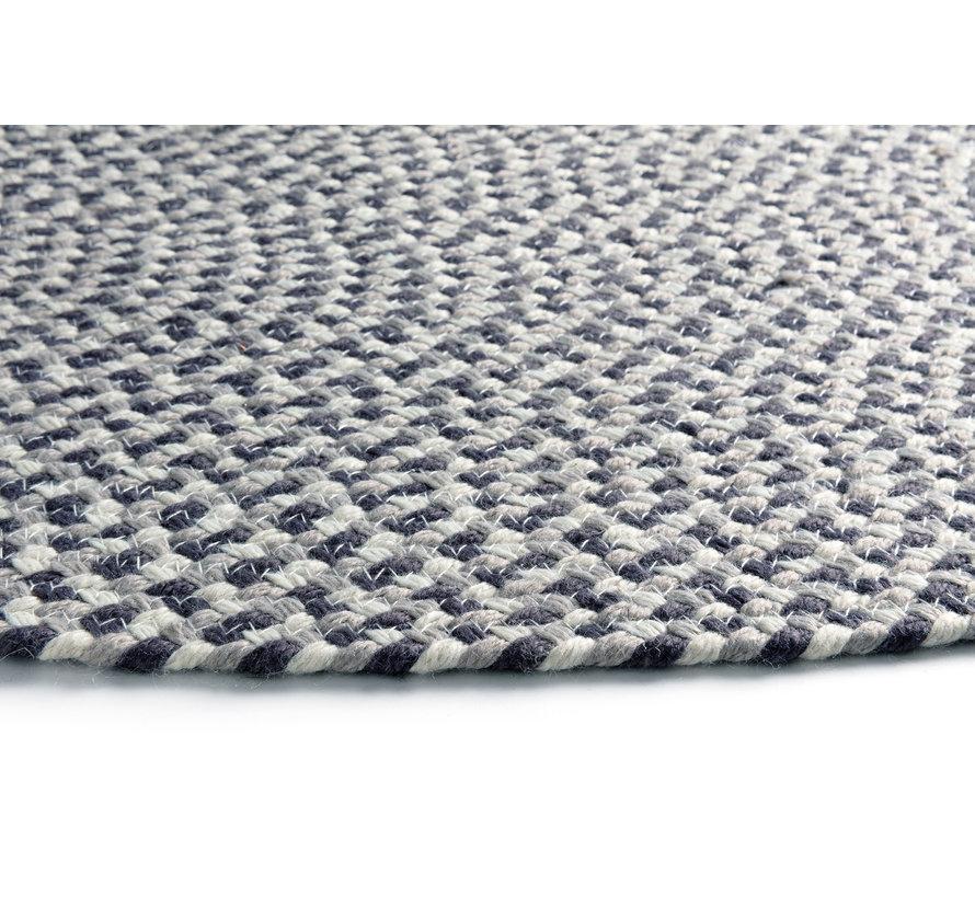 Rond tapijt antra, grijs, wit voor binnen en buiten, gerecycleerd