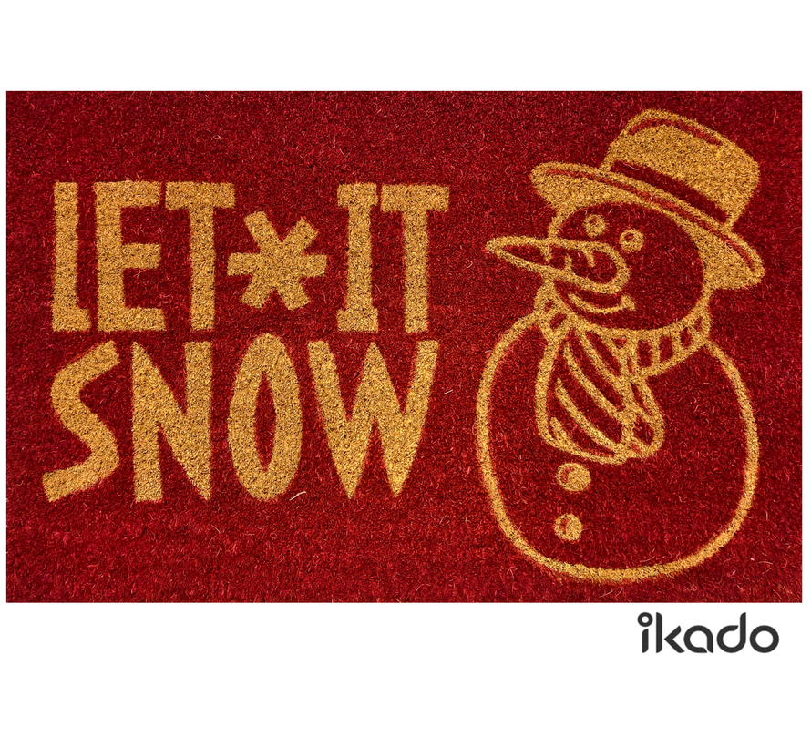 Kerstmat kokos rood Let it snow