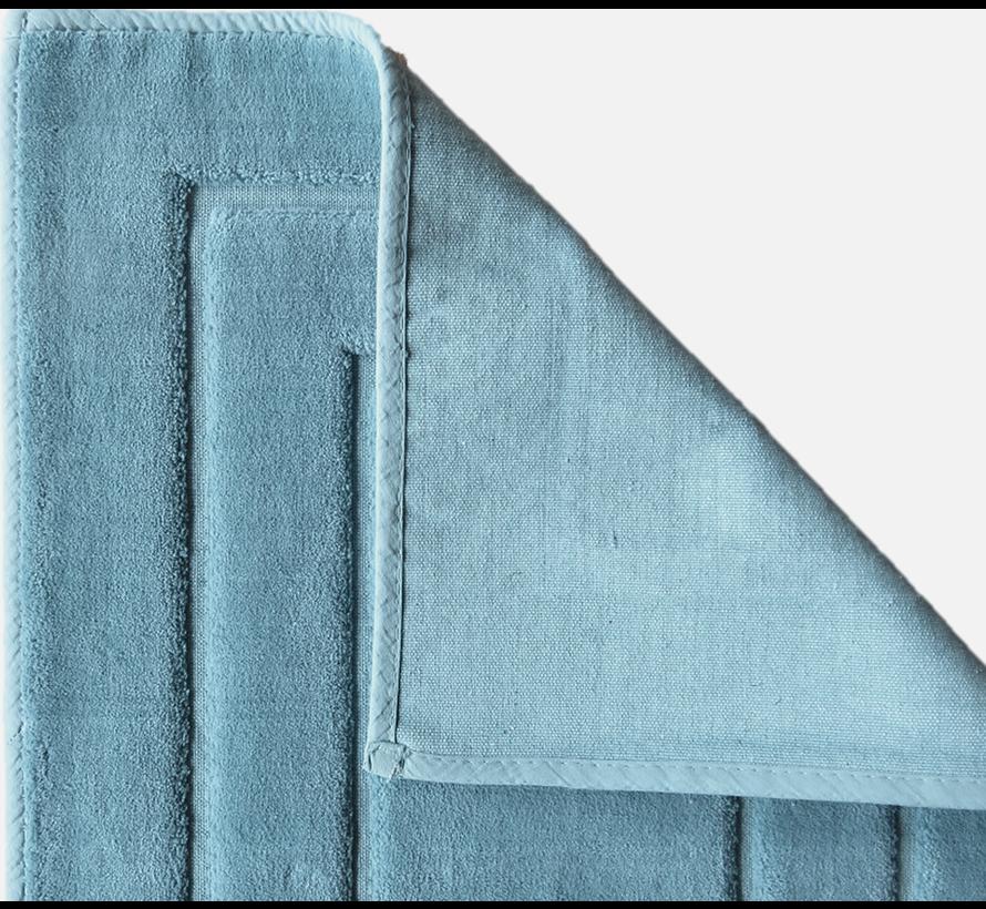 Tapis de bain antidéparant en coton, bleu