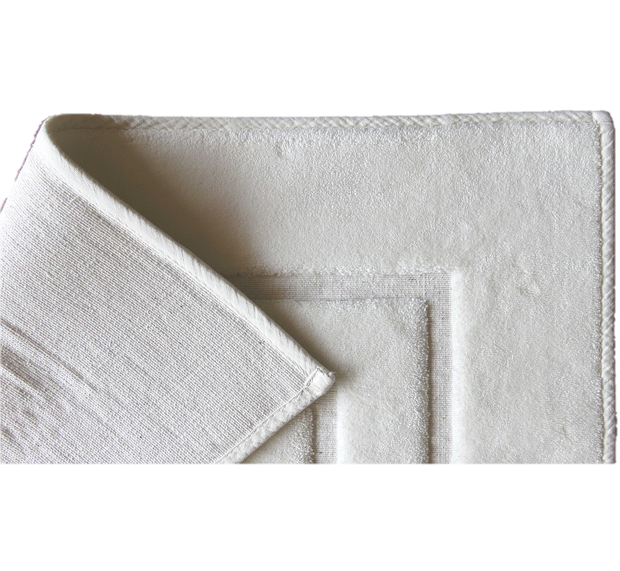 Tapis de bain antidérapant  coton, blanc