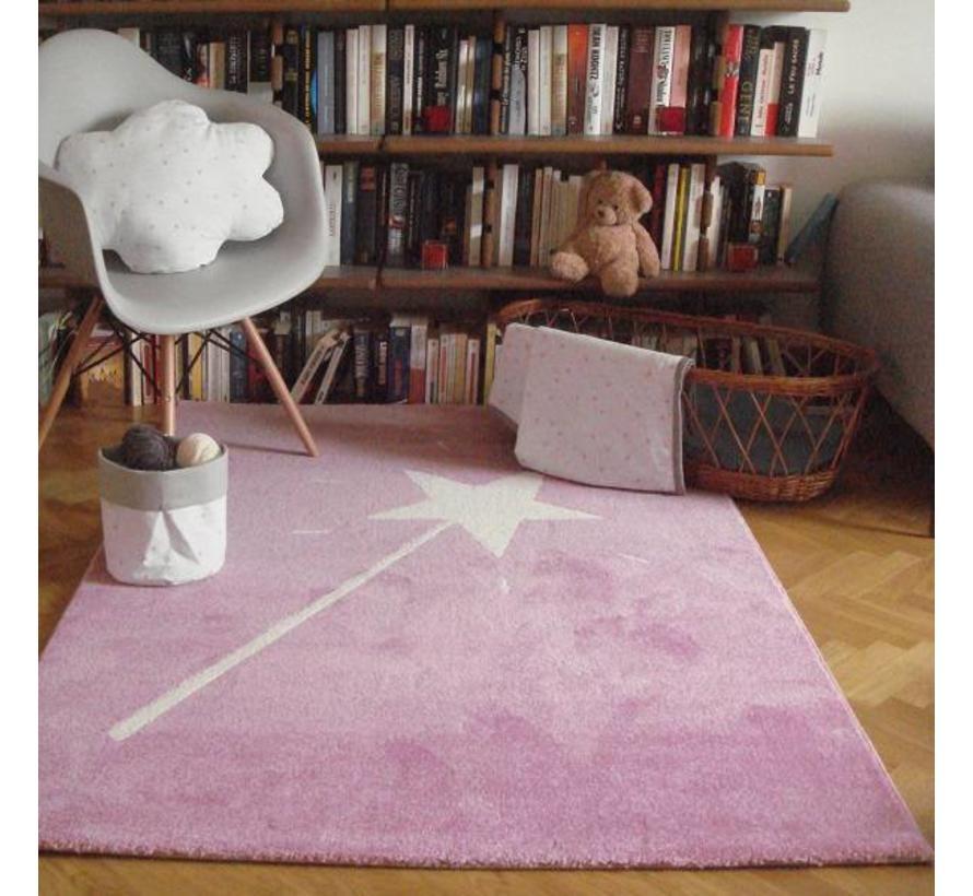 Tapis chambre enfant rose avec baguette magique ...