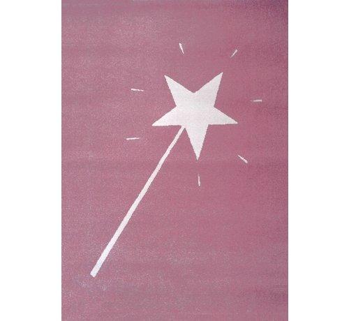 Tapis chambre enfant rose avec baguette magique   Onlinemattenshop