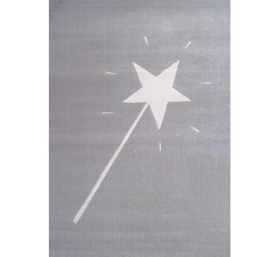 Tapis chambre enfant gris avec baguette magique