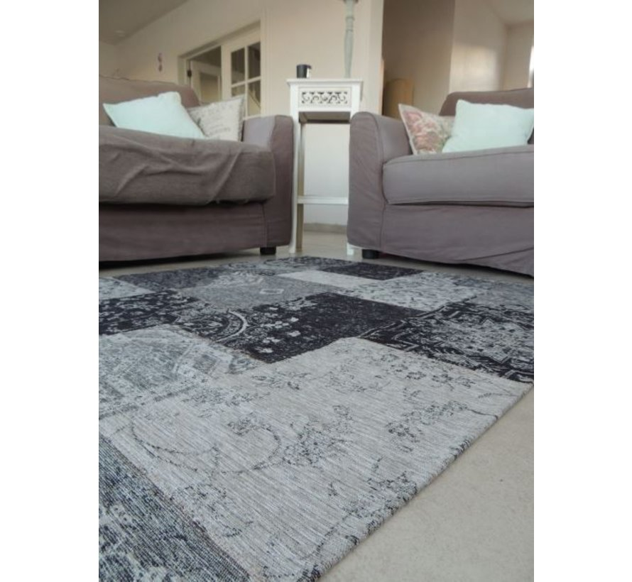 Tapis vintage patchwork gris
