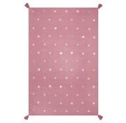 Tapis coton rose enfant étoiles