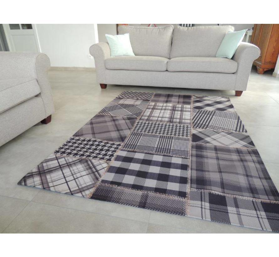 Vintage tapijt zwart/grijs patchwork