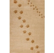 Kindertapijt beige met hondenpootjes