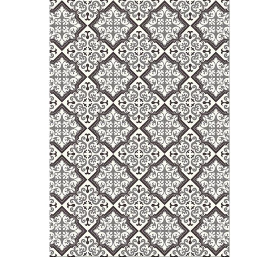 Vintage tapijt tegels zwart/grijs
