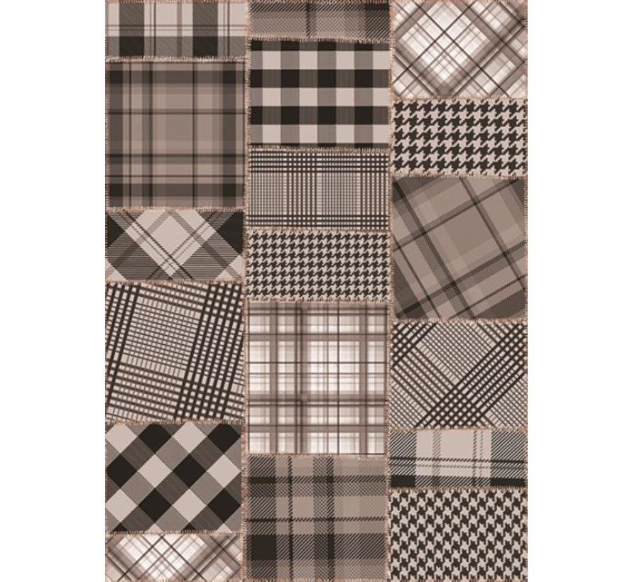 Tapis Vintage gris/noir patchwork