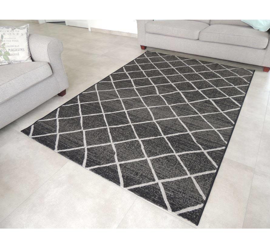 Sisal tapijt zwart/grijs geblokt