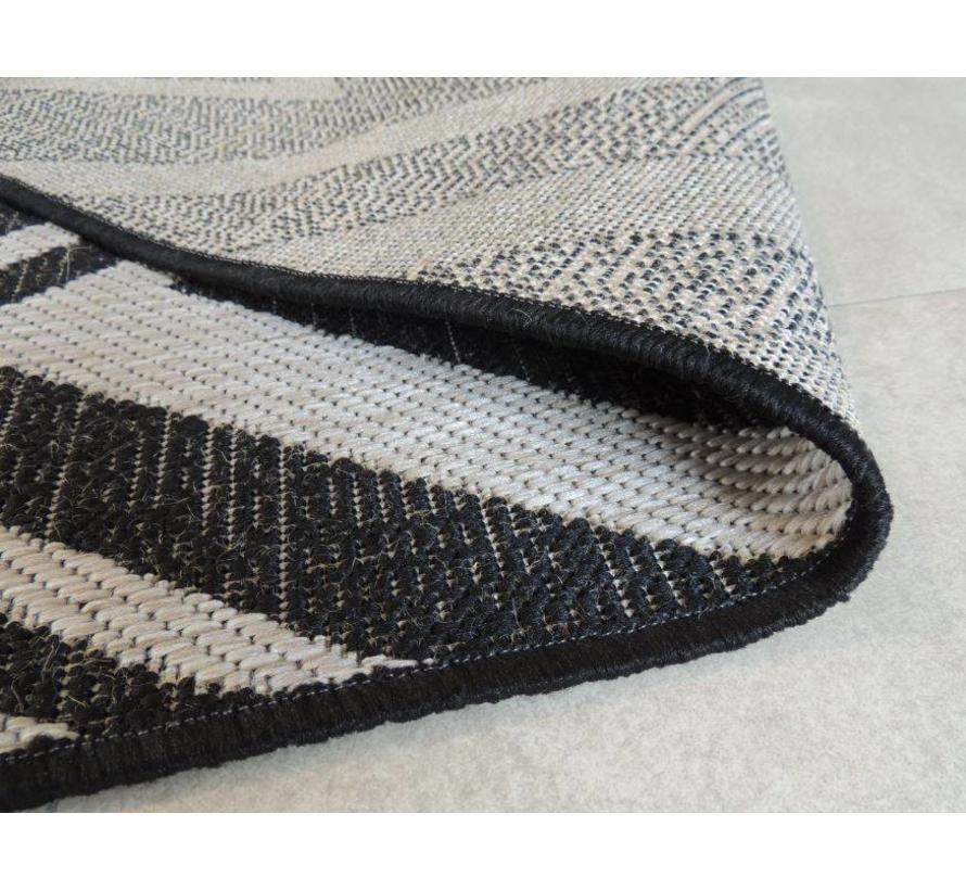 Tapijt in sisal look zwart/grijs