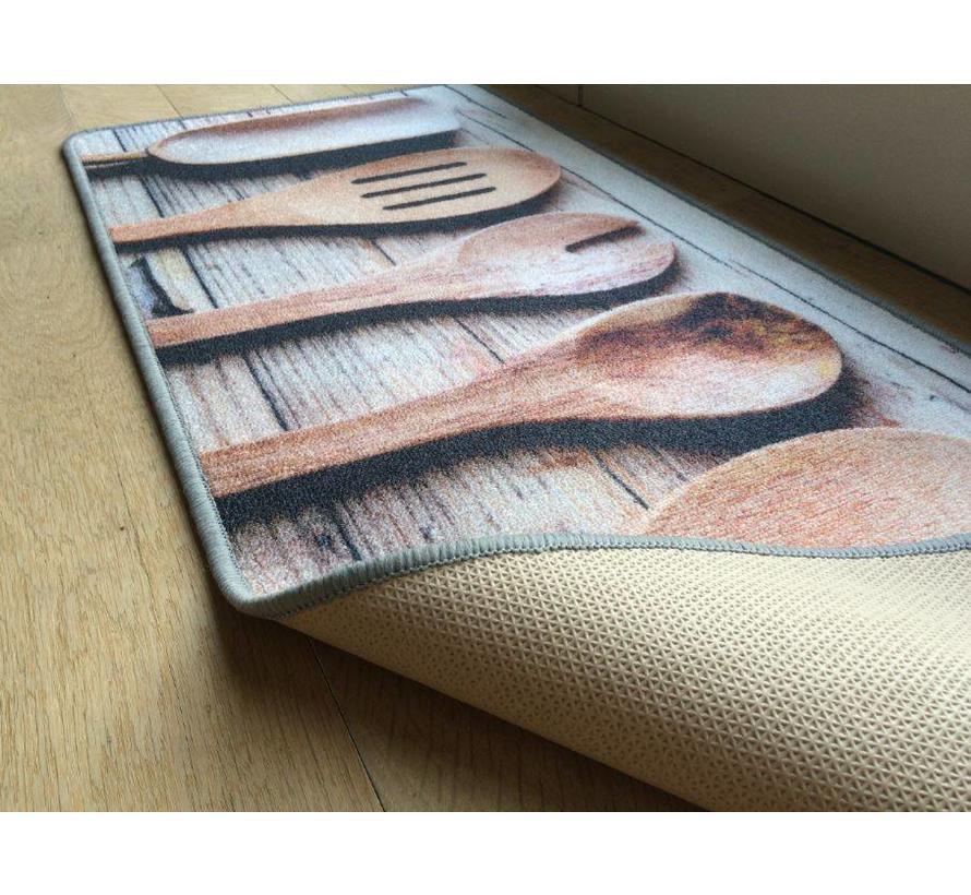 Tapis de cuisine cuillères bois
