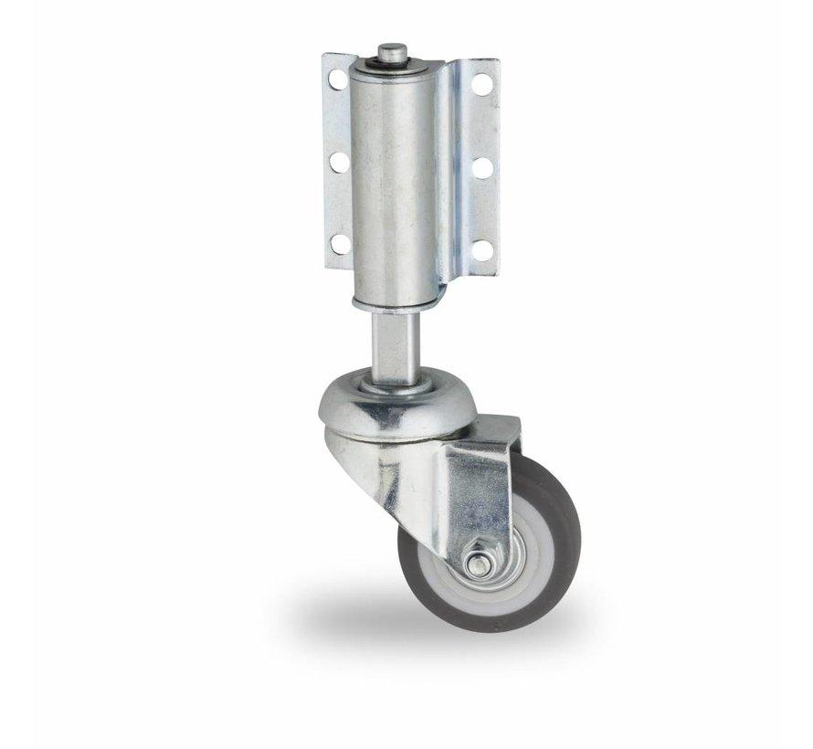 Leiterrolle mit Rad aus thermoplastischem Gummi Lenkrolle aus Stahlblech, Plattenbefestigung, Thermoplastischer Gummi grau-spurlos, Konuskugellager, Rad-Ø 50mm, 50KG