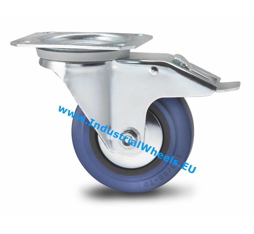 Transportgeräte Lenkrolle mit Feststeller aus Stahlblech, Plattenbefestigung, Elastikreifen, Rollenlager, Rad-Ø 100mm, 150KG